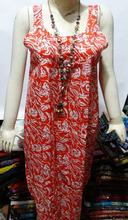 Indian Hand block Printed Long cotton tunics_New designer women Long kurti/Night wear_sell wholesale_Vishal handicraft