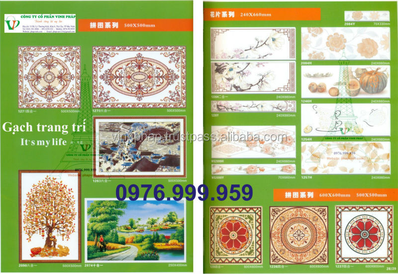 Hot Sale Full Glazed Porcelain Bathroom Tile Design Marble Look Floor Tile