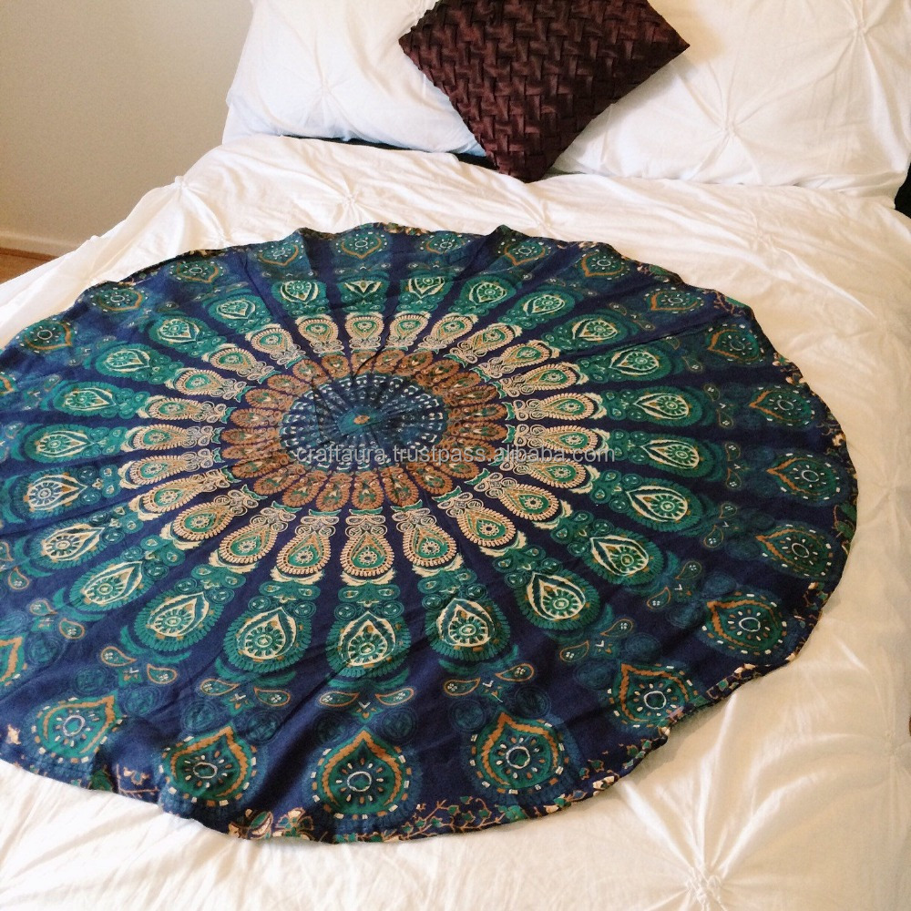"48"" Indian Hippie Wall Hanging Cotton Beach Picnic Decor Round Mandala Tapestry"