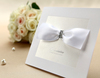 [Original BHands Card] Luxury white ribbon wedding invitation card with jewel BH1111