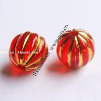 Gold Accent Acrylic Beads Round corrugated red 12mm Hole:Appr 2mm pr 490PCs/Bag Sold By Bag