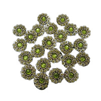 Sequin Appliques Olive Green Acrylic Stone Patch Floral Style Motif SewAP256