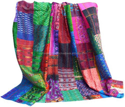 Indian Patch work Ikat kantha quilts/Patch work kantha ikat silk throw/handmade kantha silk ikat patch work