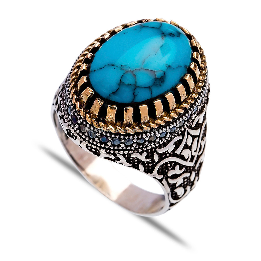 Turquoise Authentic Ottoman Men Ring, Wholesale Handcrafted Turkish 925 Silver Sterling