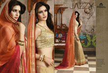 SAREE OF GEORGETTE SKIRT WITH ZARI EMBROIDERY & SHADED GEORGETTE PALLU WITH STONE WORK & NET HEAVY EMBROIDERED BLOUSE.