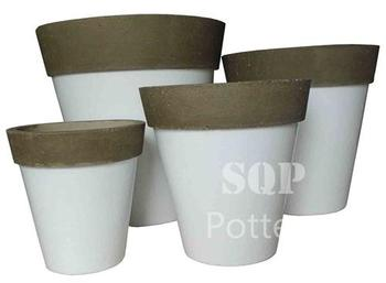 Round White Cement pot