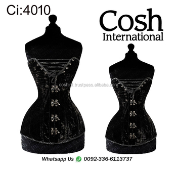 COSH INTERNATIONAL : Ci-010 Fullbust Black Velvet Double Steelboned Waist Training Corset Supplier | Manufacturer