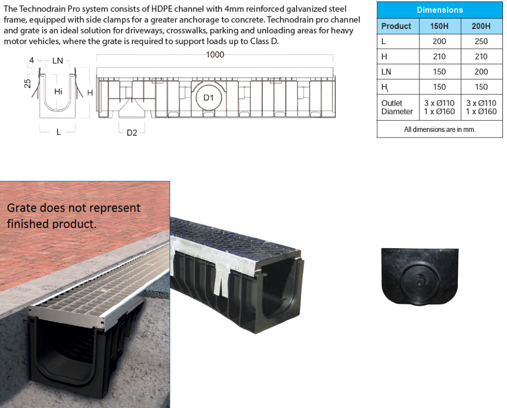 150mm x 1000mm Channel + Class D Ductile Iron Grate