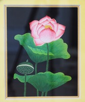 BEST PRICE !!! Embroidered painting, handicraft in Viet Nam, lotus and leaves