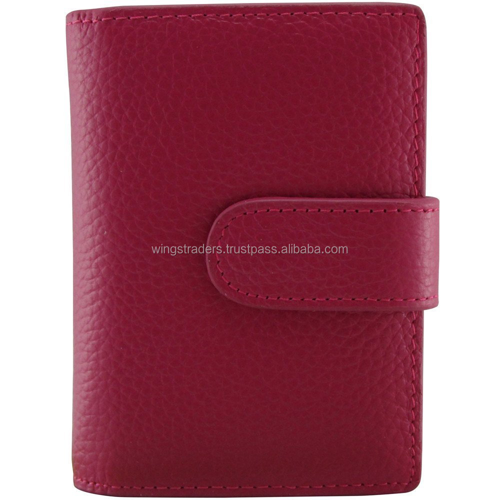 Pocket Size Genuine Leather Business Name Card Holder, 20 Card Capacity - Red