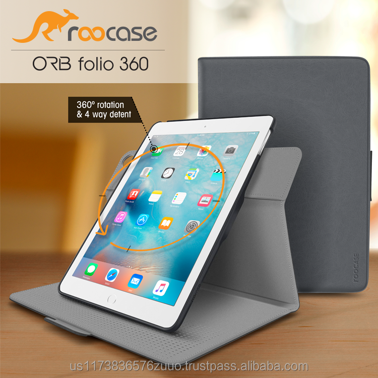 Top Quality roocase ORB 360 Rotating Folio Leather Cover Sleep/Wake Feature for iPad Air 2/Air 1 case Whole Sale (Gray)