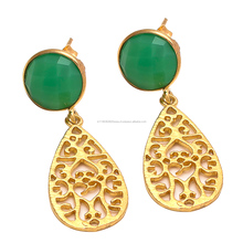 Beautiful Green Earring Onyx Gemstone handmade Making Earring Night Wear Awesome Jewelry