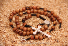Olive Wood Rosary with Metal Cross Round Beads