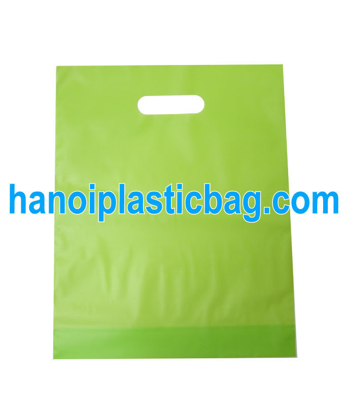 GREEN DIE CUT PACKING PLASTIC SHOPPING BAG FOR SALE