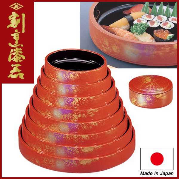 "Japanese Sushi Container for Restaurant use Lacquerware / D.X Red ""Yakumo"" design"