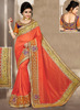 Bridal Wear Orange Silk Heavy Embroidery Work Saree