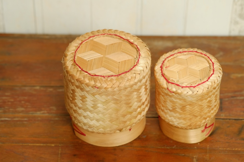 KRATIP - Original Thai Lao woven bamboo basket - sticky rice container - wicker work - handmade storage basket for Thai food