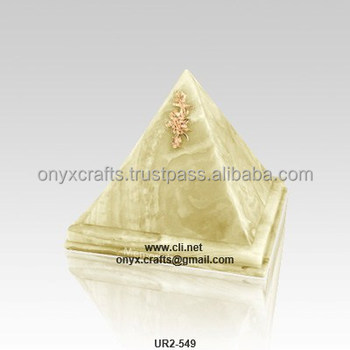 Green Onyx Pyramid shaped Funeral Urn