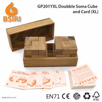 Double Soma Puzzles Build with Card Wooden Toy Train