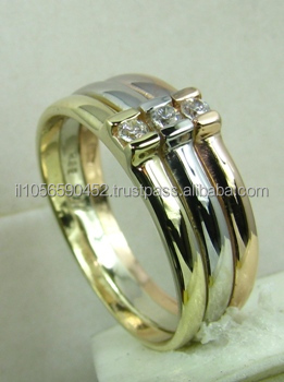 Designer Fine Jewelry with Eye clean Round Diamonds Solid Gold Three Bands