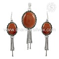Entrancing Fashion Jewelry Red Sunstone 925 Silver Set Handmade Silver Jewelry