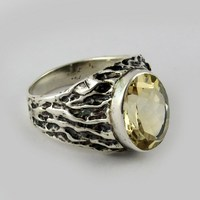 Rare Oval Yellow Citrine 925 Sterling Silver Gemstone Ring, Oxidized Silver Jewelry, 925 Gemstone Rings