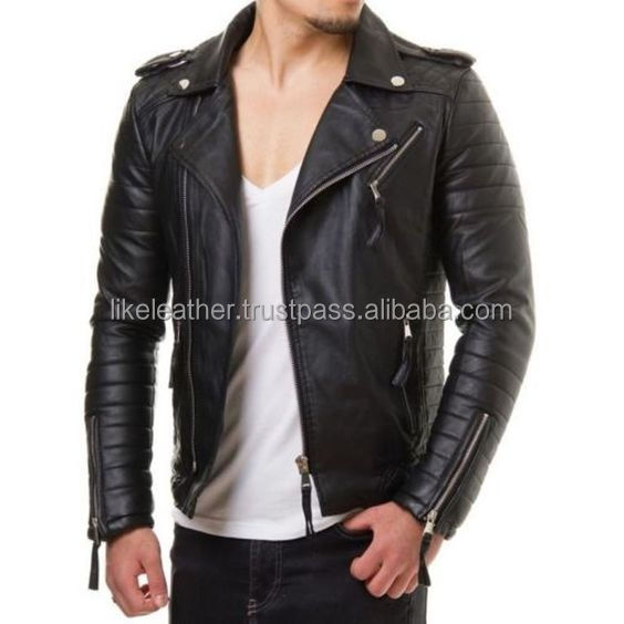 hot leather jacket New Men's Leather Jacket Black Slim fit Biker Motorcycle genuine lambskin jacket