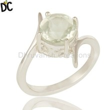 Crown Designer Stylish Girls Rings Green Amethyst Gemstone Rings Manufacturers of Fine Silver Jewelry
