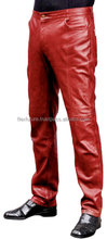 shiny red genuine leather rockstar tight pants for mans