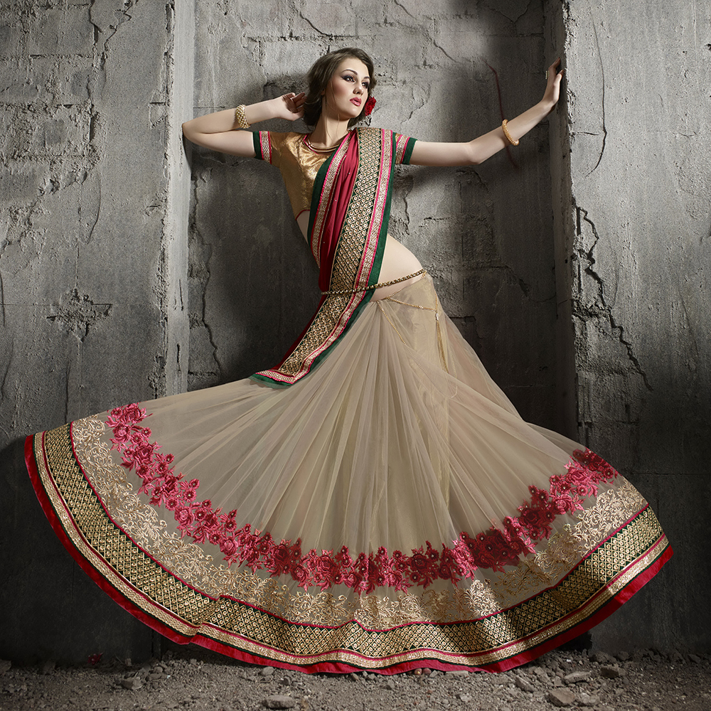 Surat tex Pink & Beige Colored Georgette(60 Gram) Embroidered Saree With Blouse Pice- BS1529.