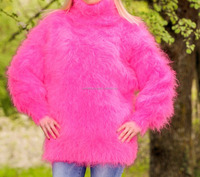 PINK Hand Knitted Mohair Sweater FUZZY Handmade Soft Pullover/Best looking design royal color party wear sweater for women .