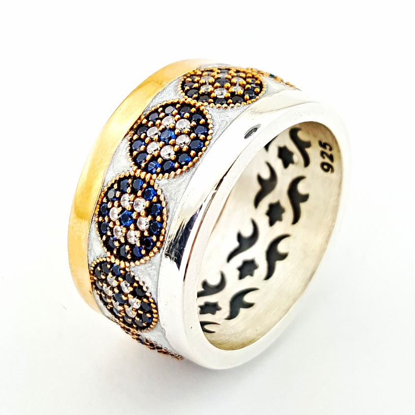 Best Selling Evil Eye Jewelry Turkish Wholesale Fashion Rhodium Plated 925 Sterling Silver Ring