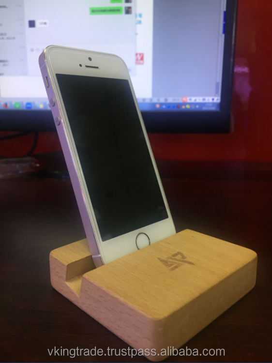 Creative Wooden mobile phone holder ring Square Lazy Phone Holder