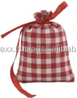 Cotton Check Promotional Drawstring Pouch Bag
