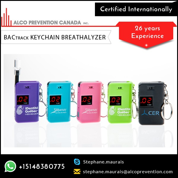 Digital Display Vibrant Color BActrack Keychain Breath Alcohol Tester