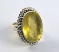 Natural faceted lemon topaz ring 925 sterling silver jewelry