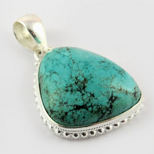 Sleeping Beauty !! Green Turquoise 925 Sterling Silver Pendant, Heart Touching Silver Jewelry, Fine Silver Jewellery