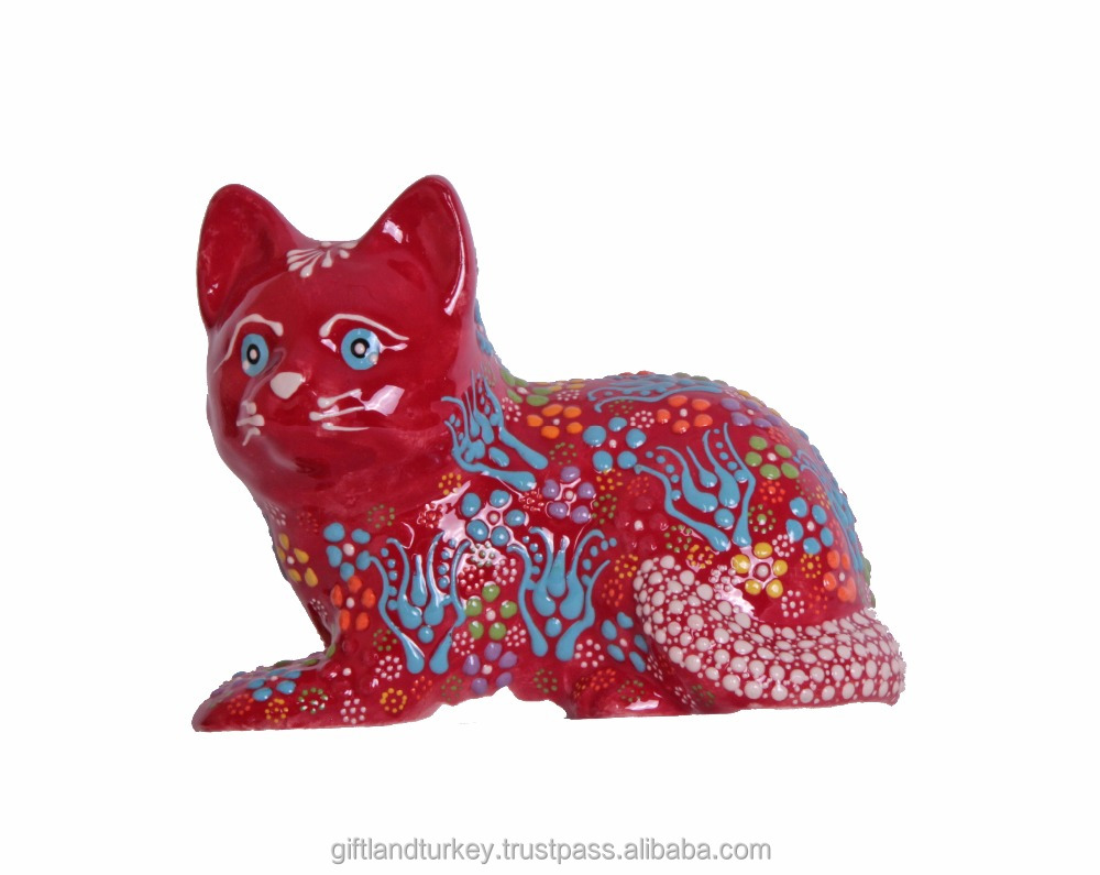 Miniature Animals Ceramic Sitting Cat Figurine Hand painted