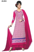 Blissful Wine Color Cotton Un Stitched Print Work Designer Salwar Kameez