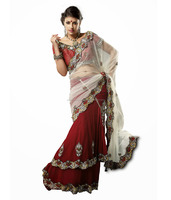 fancy new designs multi color Summer hot selling net sarees with net blouse