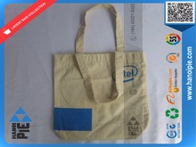 Short handled natural organic cotton bag canvas shopper bag with bottom gusset