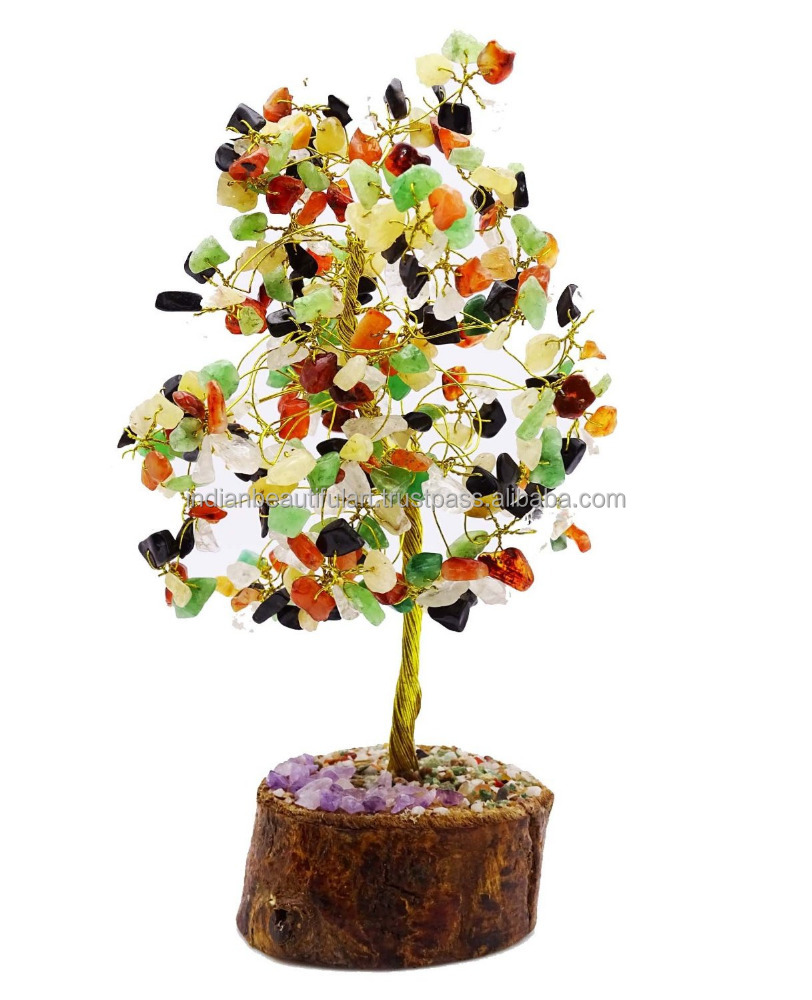 Multistone Tree Reiki Spiritual Gemstones Feng Shui Vastu Bonsai Table Decor CD1851B