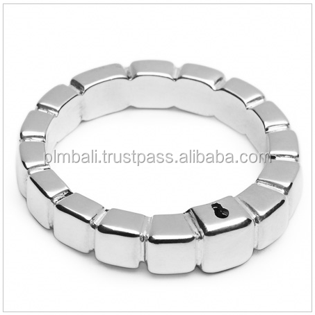SMR004-sterling silver plain with block design