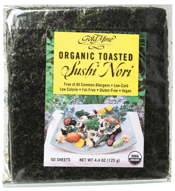 GOLD MINE Organic Toasted Sushi Nori (Pack of 50 Sheets) 125g