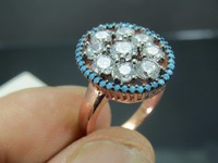 925 Sterling Silver Turkish Rose Gold Turquoise Zircon Women's Ring Jewelry