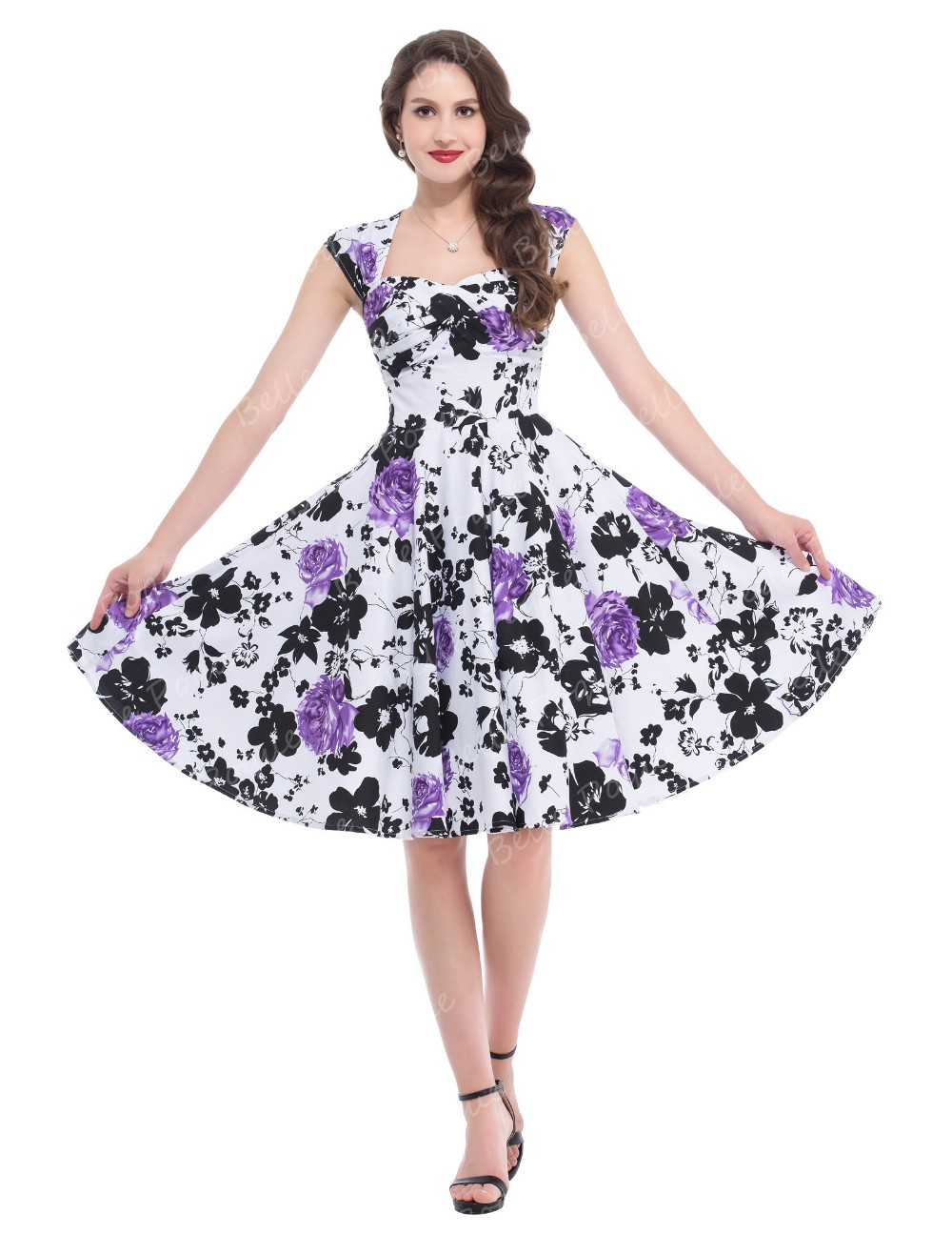 Belle Poque Stock Sleeveless Hollowed Back Cotton Retro Vintage Party Dress BP000024-1
