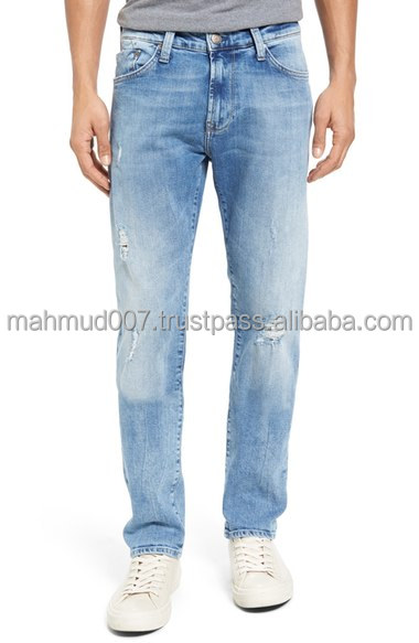 Excellent washed slim fit men's denim