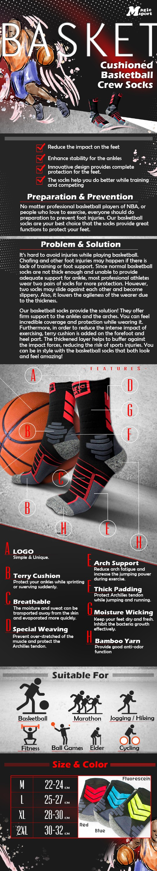 Hotsale Cushioned Ankle Arch Support Sports Basketball Socks