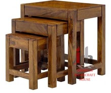 Solid Wood Made Set of 3 Nesting Coffee Table/Side Table/Stools