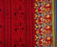 Designer Dress Making Red Fabric Tribal Print Rayon Sewing Crafting By The Yard